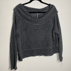 Free People Distressed Cowl Neck Sweater